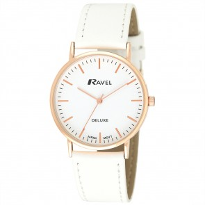 Deluxe Men's Modern Index Leather Strap Watch