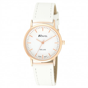 Deluxe Women's Modern Index Leather Strap Watch