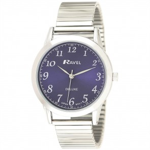 Deluxe Men's Classic Expander Bracelet Watch Silver / Blue