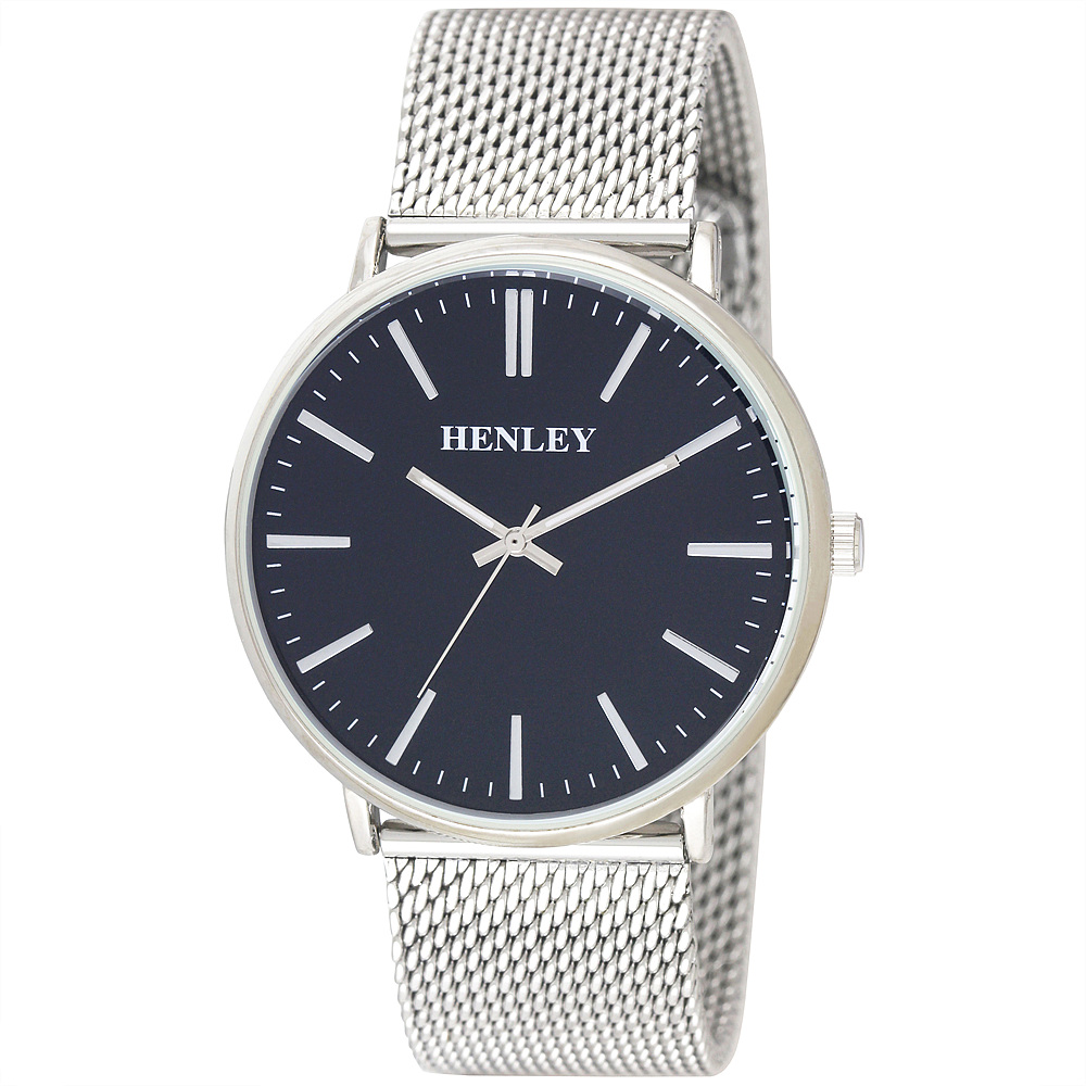 henley mens fashion mesh bracelet watch h02116 by timesource h02116 6 henley mens fashion mesh bracelet watch silver blue